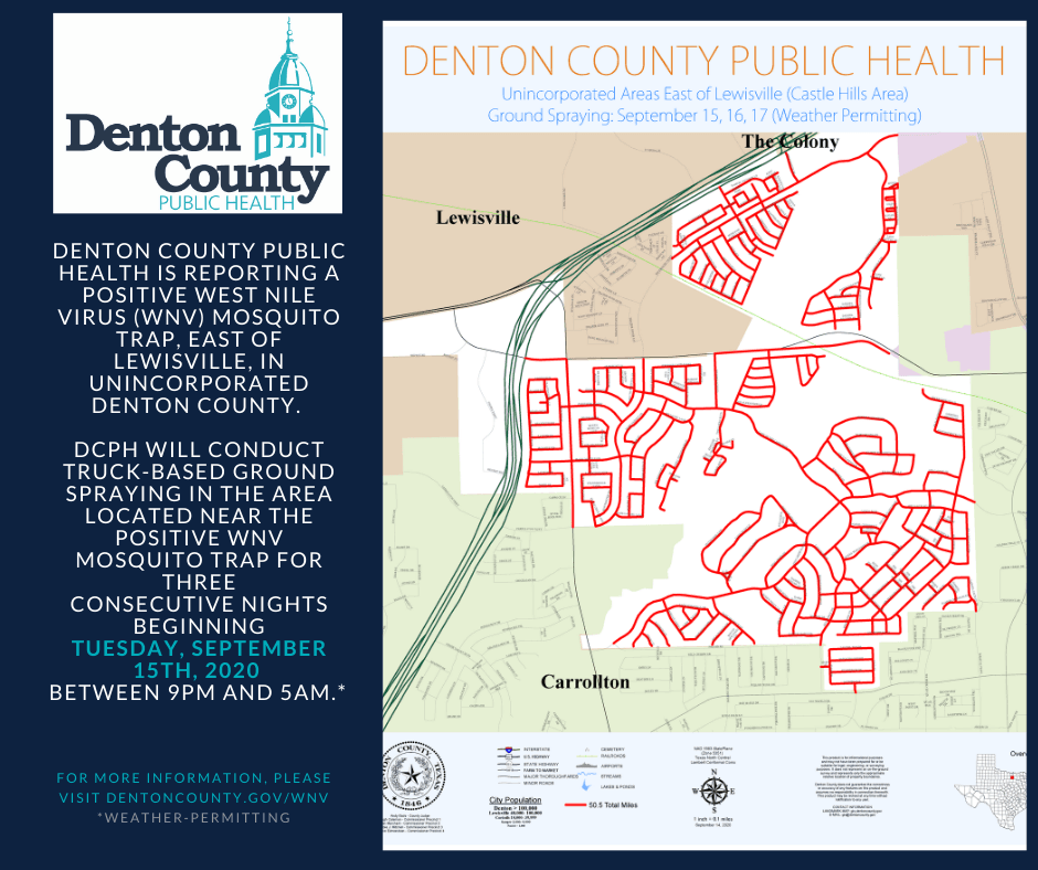 WNV Spray Map showing Castle Hills Neighborhood