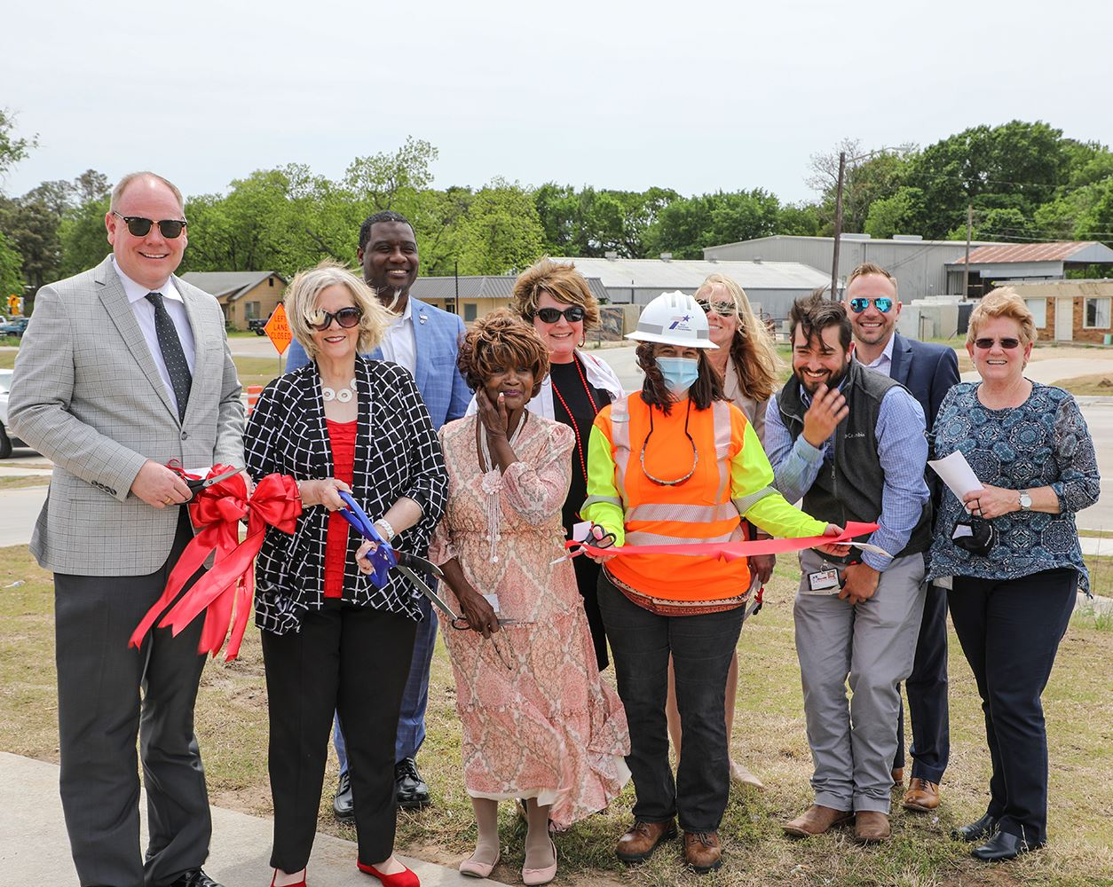 Denton County, area officials cut ribbon to commemorate opening of US 377/Fort Worth Drive.