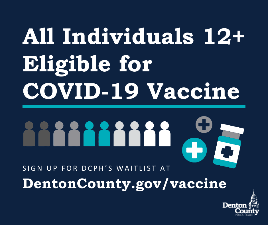 A blue image that states all individuals 12 and older are eligible for a covid 19 vaccine